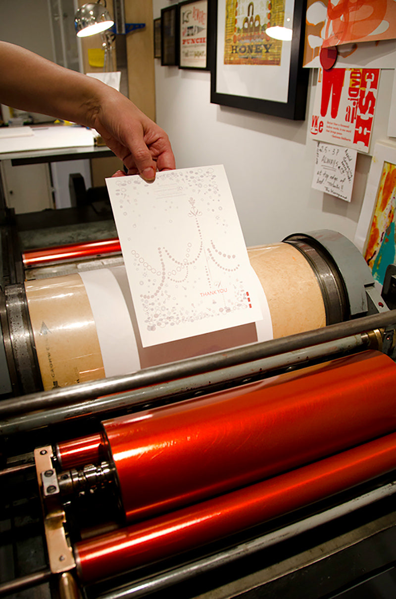 Orange House Press custom letterpress You Inspire card being made for CG Jewelry