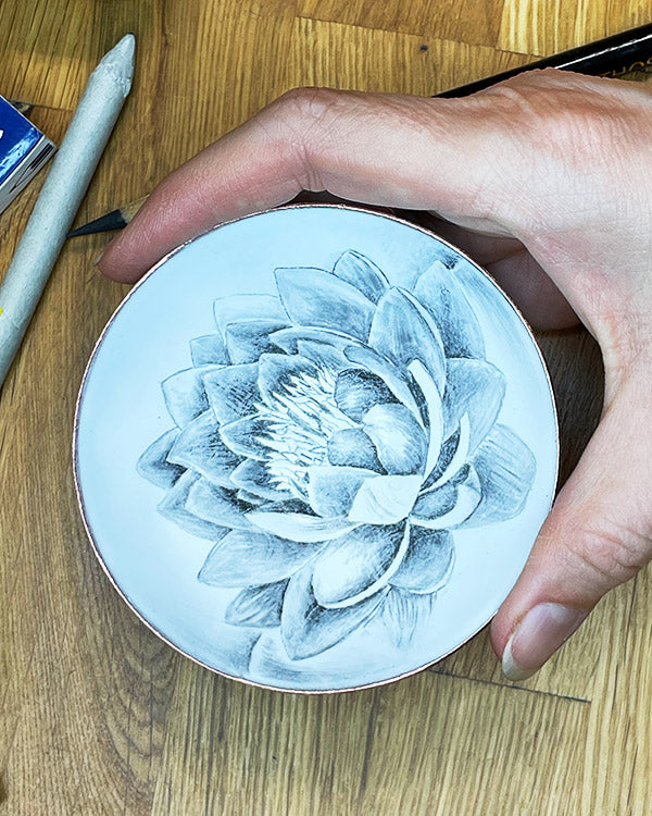 lotus flower bowl, drawn with graphite pencil before firing in kiln, handcrafted by seattle artist catherine grisez