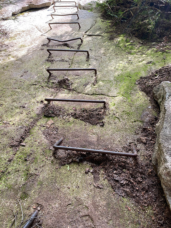 metal ladder rungs in rock on appalachian trail photo by catherine grisez