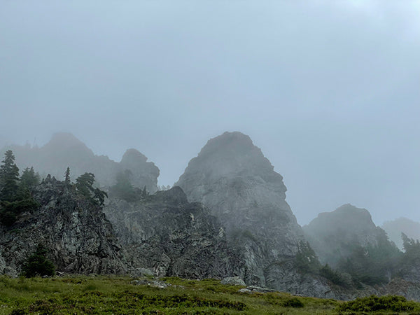 mountains in a cloud experienced while backpacking the Pacific Crest Trail
