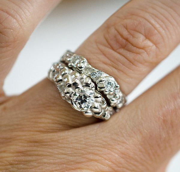 mushroom and river inspired custom wedding ring set for nature loving couple made by Seattle artist Catherine Grisez