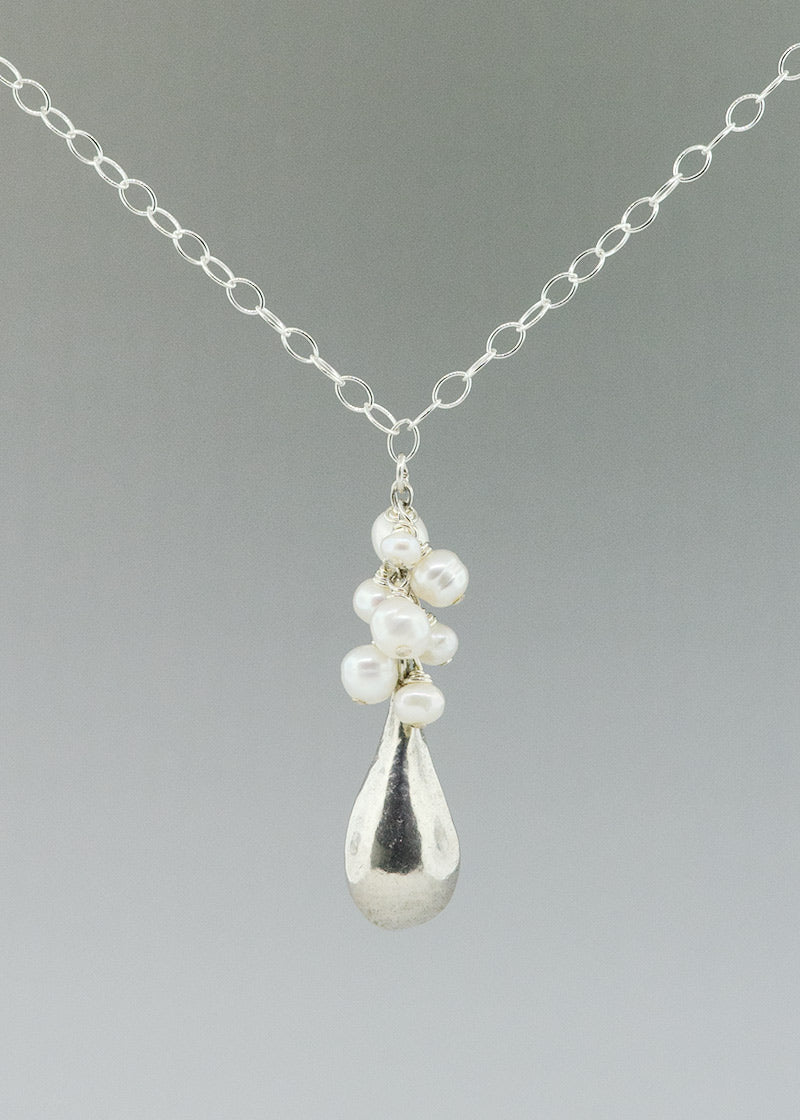 sterling silver and white pearl necklace made by CG Sculpture and Jewelry
