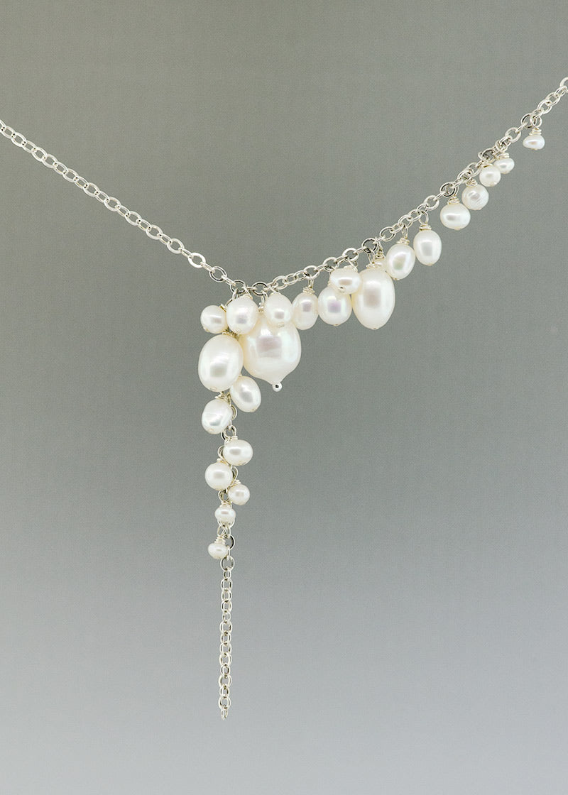asymmetrical fresh water pearl and sterling silver unique necklace made by Catherine Grisez