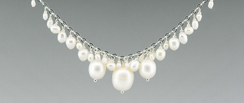 fresh water white pearls and sterling silver necklace made by CG Sculpture and Jewelry