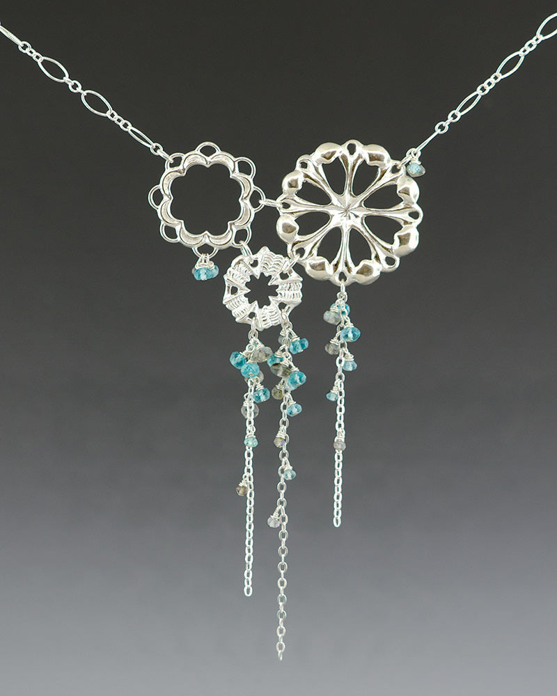 sterling silver circular necklace with dangling aqua gemstones inspired by ocean tidepool