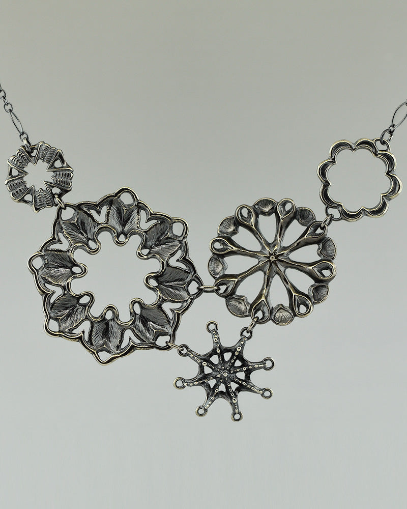 black sterling silver bib necklace from Siren Collection, inspired by 19th century sea creature illustration