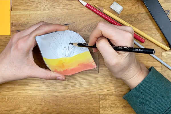 one of a kind drawing and painting on copper and glass enamelware bowl handcrafted in Seattle