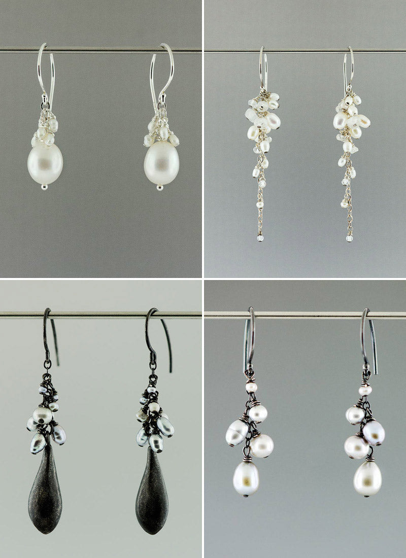white and grey pearls with sterling silver earrings made by CG Sculpture and Jewelry