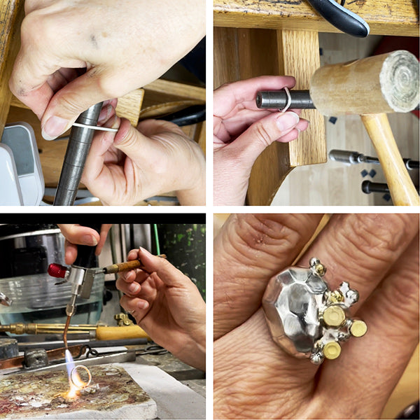hammering silver ring shank and attaching it to rock treasure ring to complete handmade recycled silver and 14k gold  statement ring by metalsmith Catherine Grisez