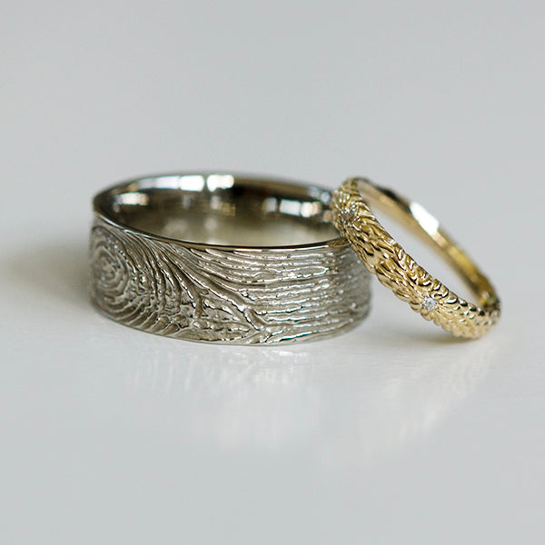 custom gold wedding rings inspired by protea tree flower