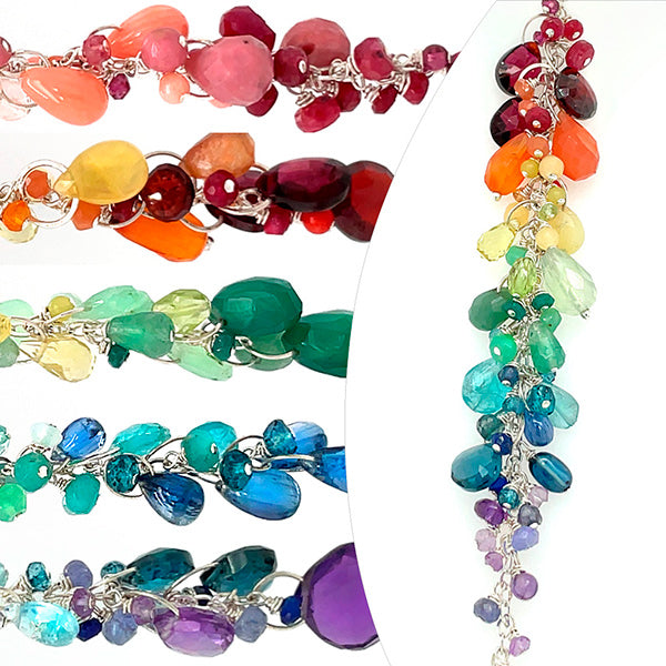 rainbow love silver and gemstone gradient necklaces