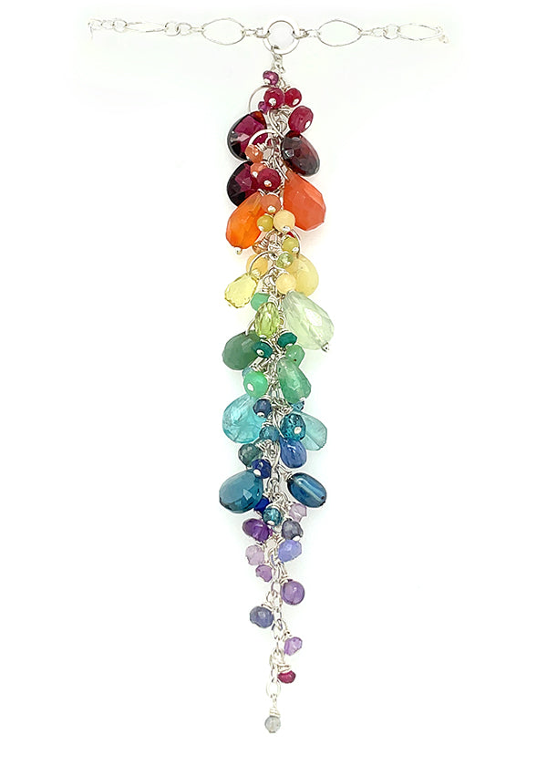 rainbow gradient gemstone necklace made in Seattle by artist Catherine Grisez