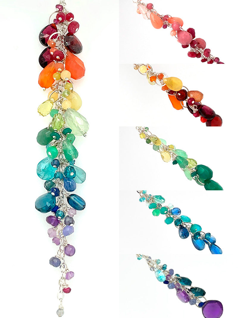 cheerful gemstone rainbow gradient necklace for mother's day gifts
