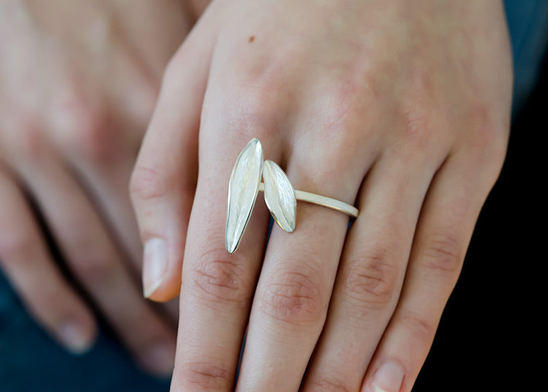 Resilient silver leaf ring inspired by hike around  and up Mt St Helens