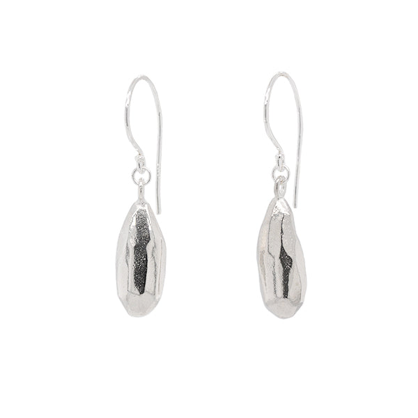 rock drop earrings in solid sterling silver that symbolize strength and joy