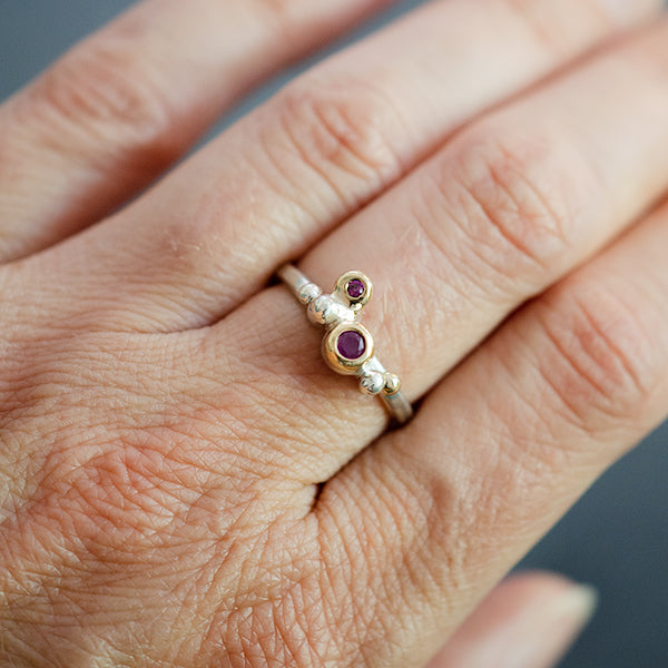 recycled sterling silver, 14k yellow gold, ruby, and anthill garnet one of a kind ring handmade in Seattle by artist Catherine Grisez