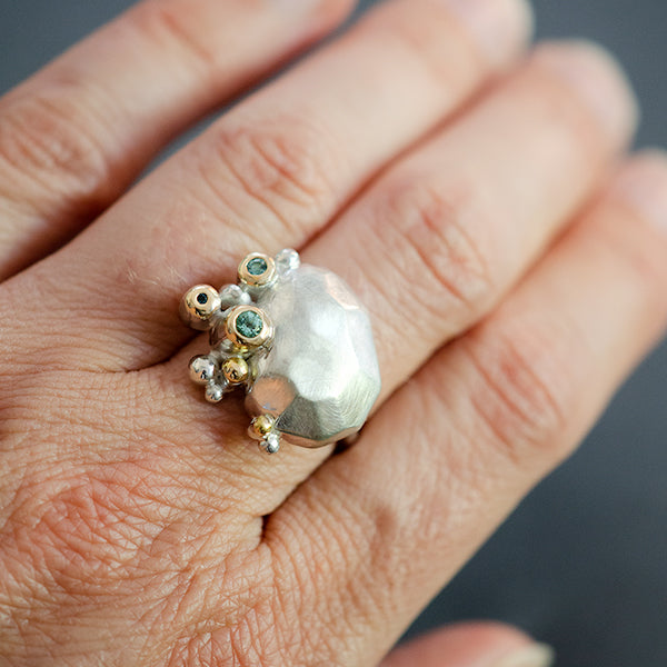 recycled sterling silver, 14k yellow gold, sea foam tourmaline, and topaz ring handmade in Seattle by artist CG Sculpture and Jewelry, Catherine Grisez