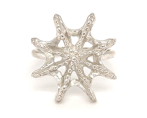 sea star silver ring handmade in Seattle by artist Catherine Grisez