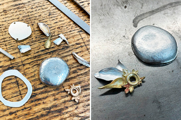 silver and gold necklace parts being combined to make one of a kind jewelry