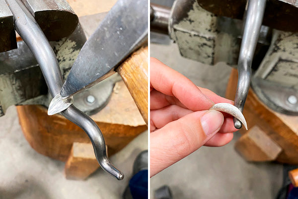 anticlastic metal forming, making silver leaf shapes to be used in necklace design, handcrafted in Seattle WA
