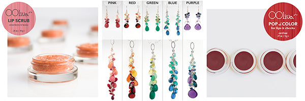 lip scrub and color by Ooliva and rainbow gradient necklace and earring sets by CG Sculpture and Jewelry for 2021 Mama Bear Gift Sets