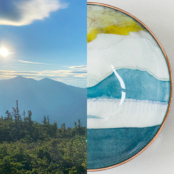 sunset over mountains paired with one of a kind enamelware copper bowl that it inspired, handcrafted in Seattle