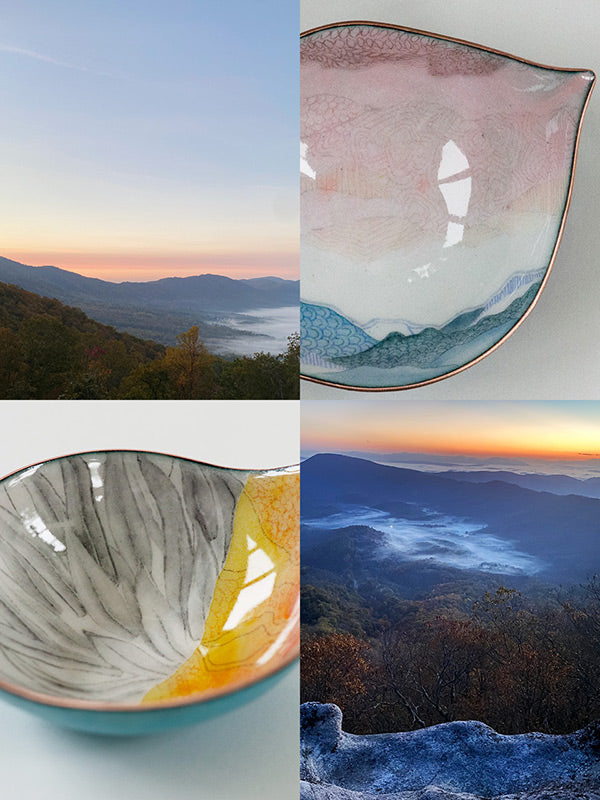 handmade copper and glass enamel bowls painted and drawn with designs inspired by the sunrises seen on the Appalachian Trail, also pictured