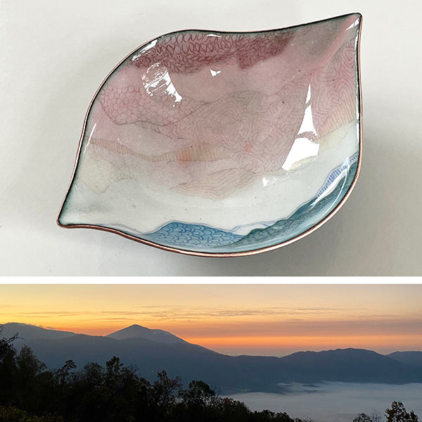handmade enamelware copper and glass bowl made in Seattle paired with sunset picture over mountains that inspired the drawing