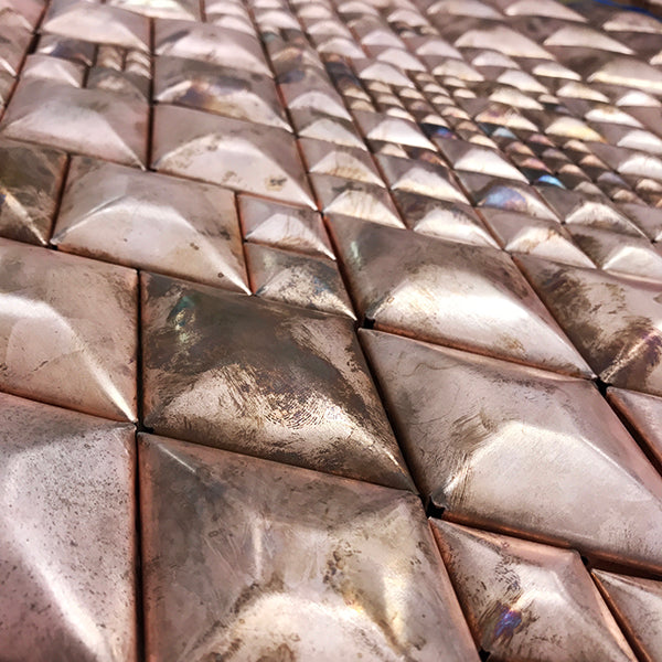 raw copper diamond shapes for wall art, layout to determine pattern