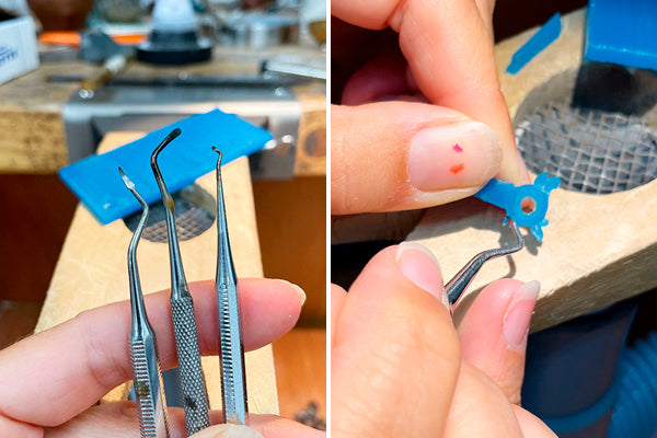 wax carving tools and work in progress, making little bezel with leaves to be cast in gold