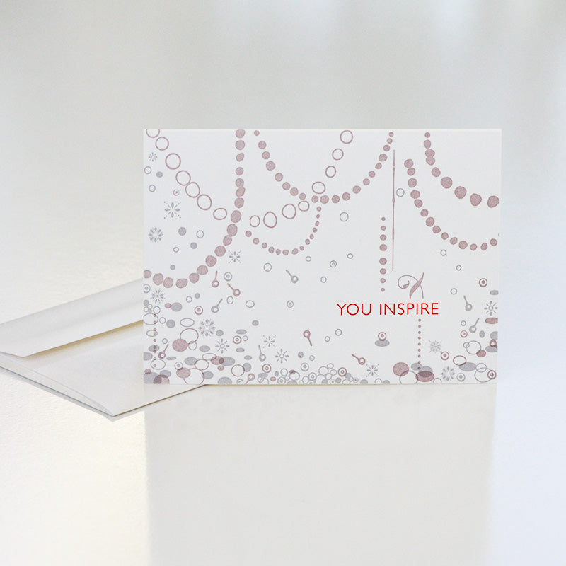 handmade custom letterpress card for Inspiring Women silver necklace award by CG Sculpture and Jewelry