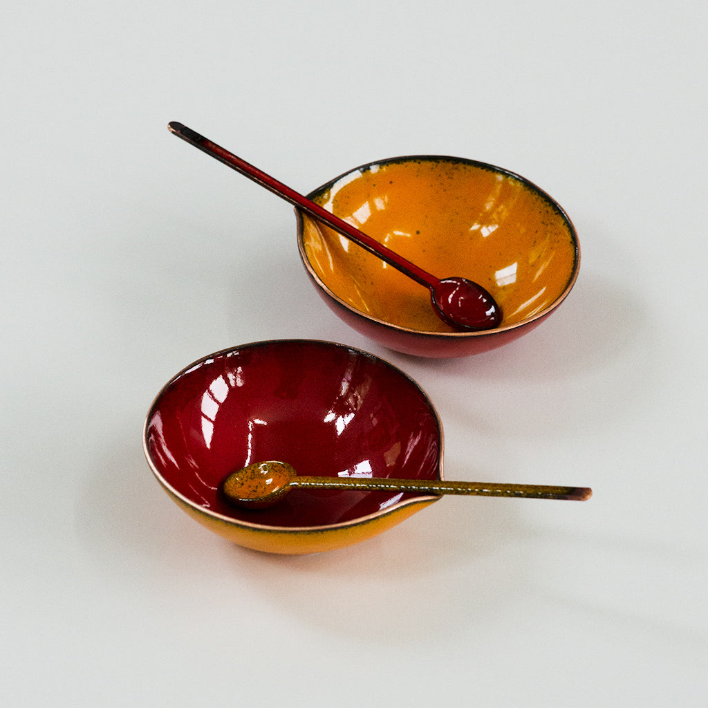Petal Bitty Bowl, copper enamelware