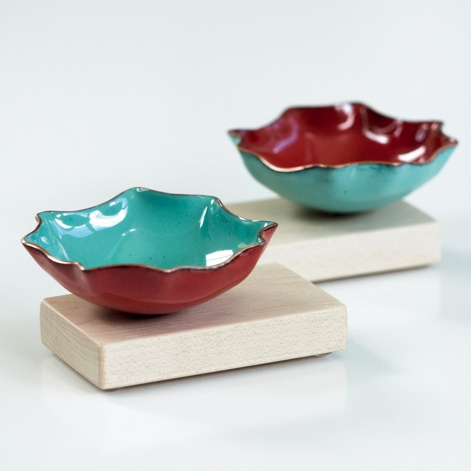 Hexagon Bitty Bowl with wood base, copper enameware