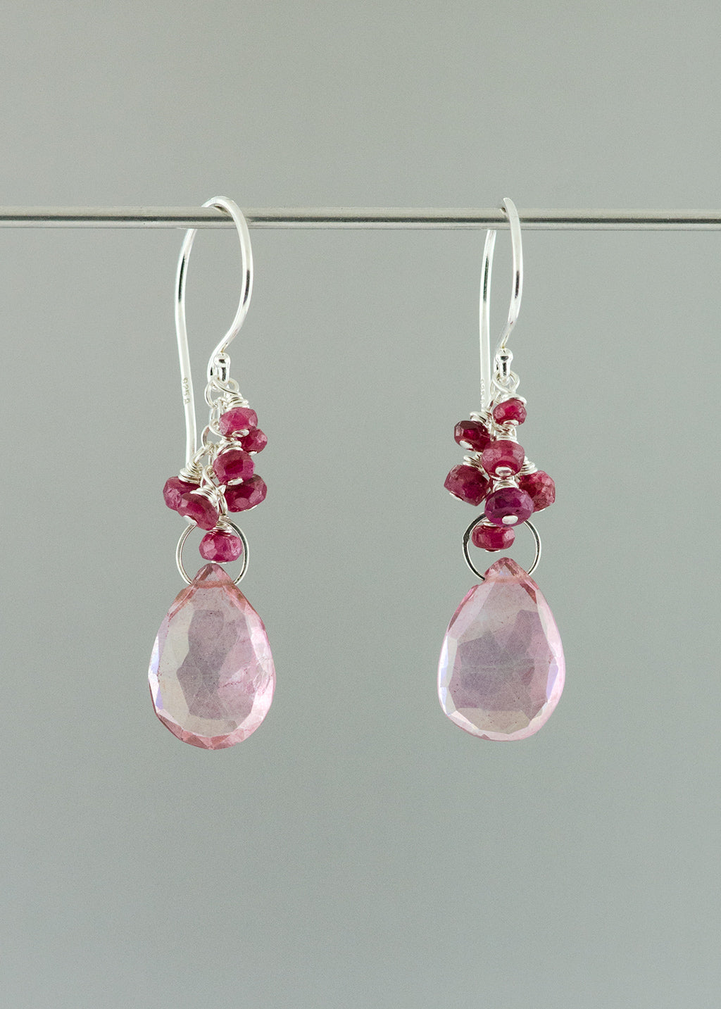 Ruby and quartz drop earring