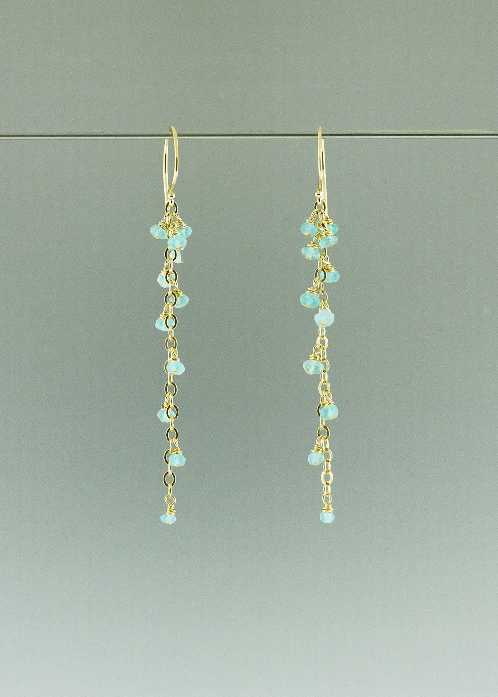 Gold aqua dangle earrings