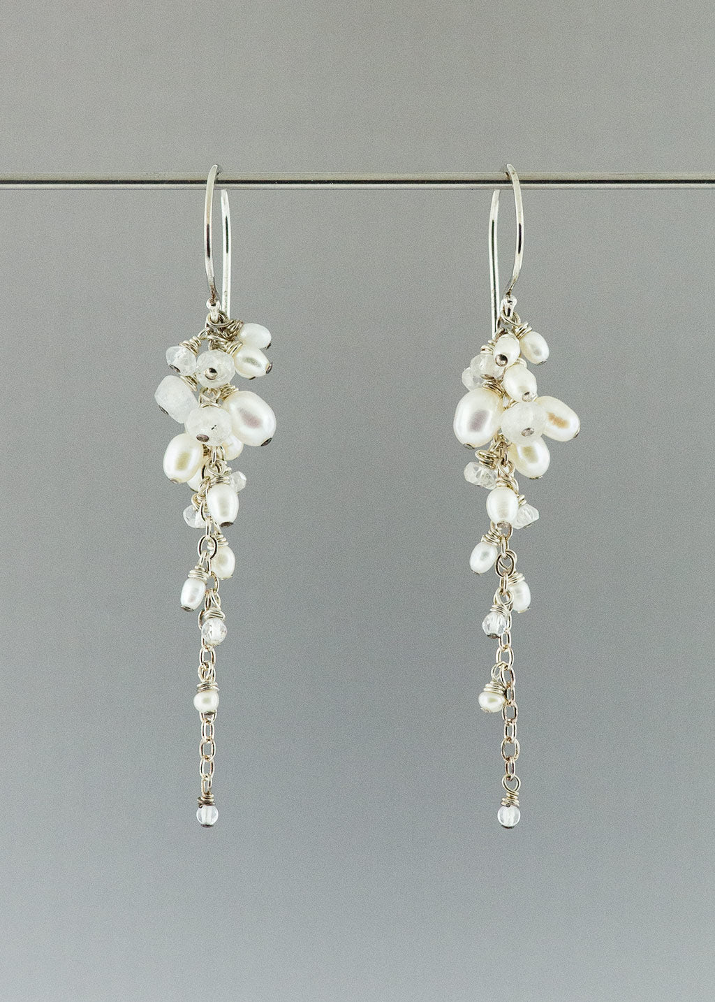 Pearl and moonstone chandelier earrings