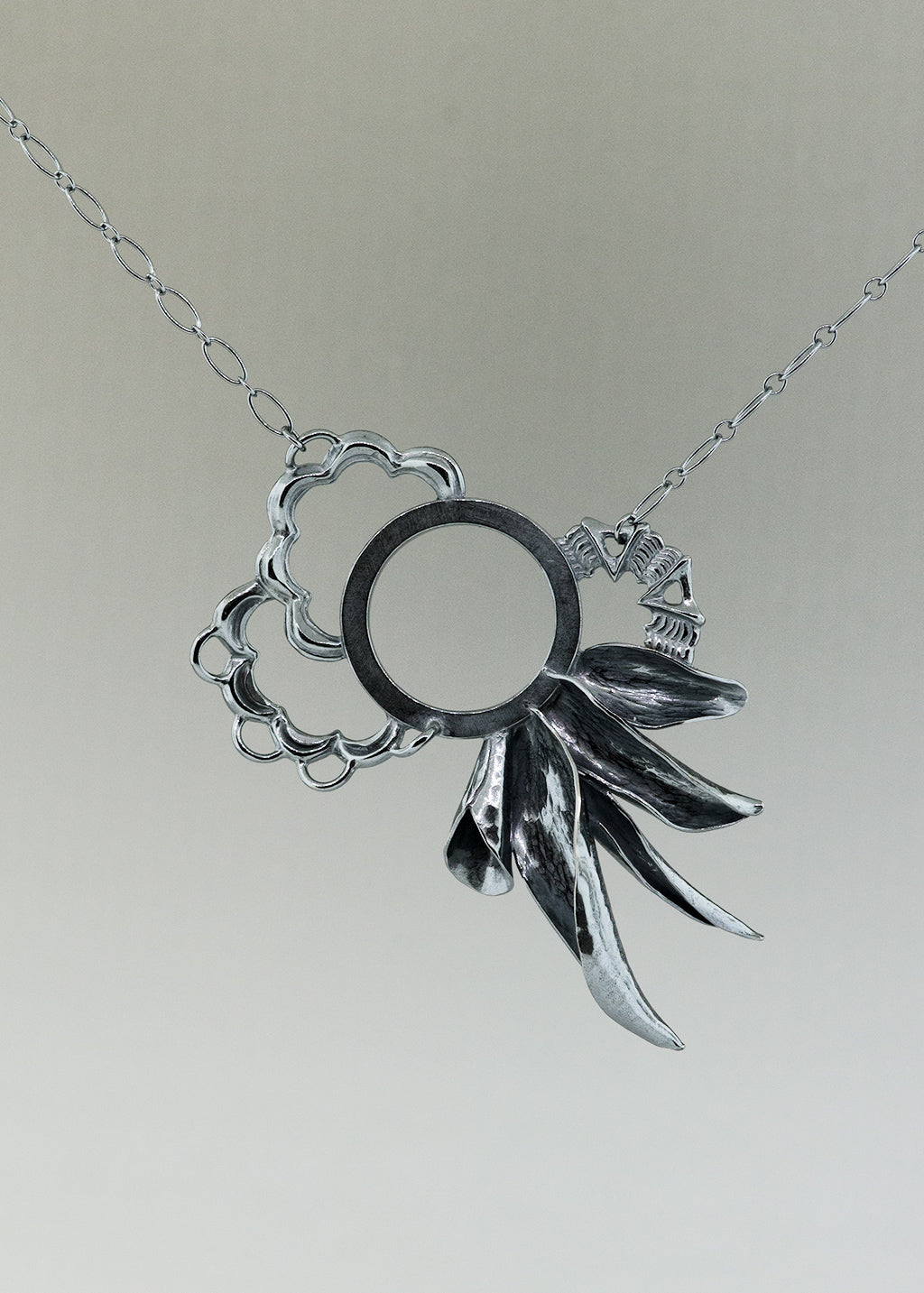Night Bloom, one of a kind silver necklace