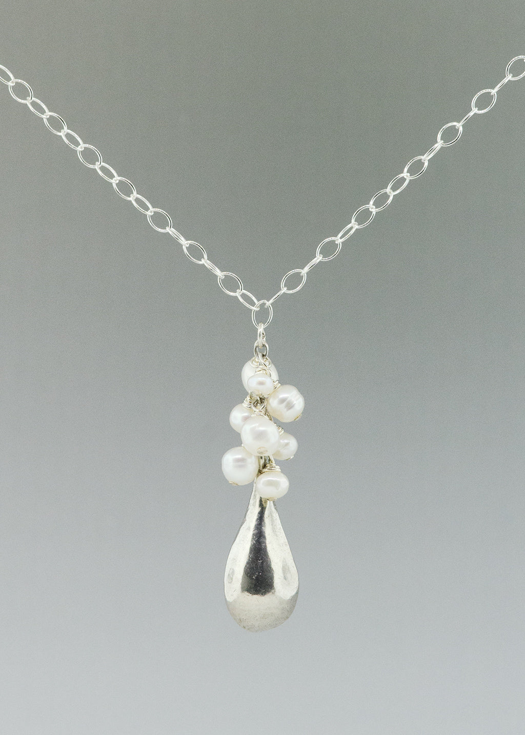Petite pearl drop necklace