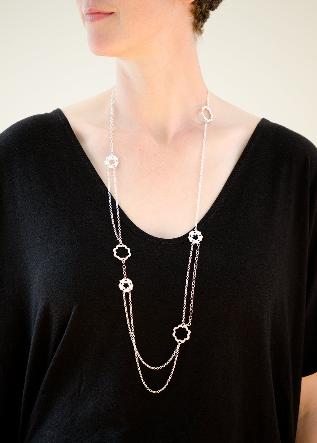 Long and short siren silver necklace