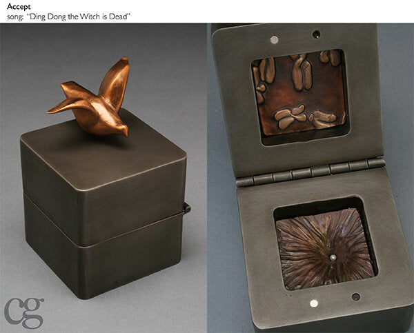 Accept steel and bronze music box sculpture