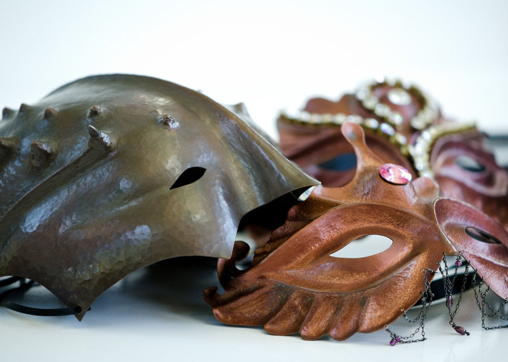 A few sample copper masks for the workshop. Come hammer with us! Perhaps a Lady Liberty mask is in your future?