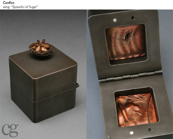 bronze bird nest and steel and copper music box sculpture about comfort and wounds