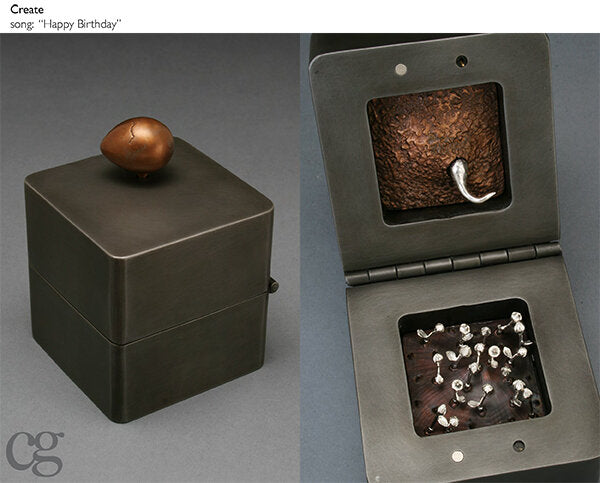 happy birthday bronze egg music box sculpture - art to celebrate life