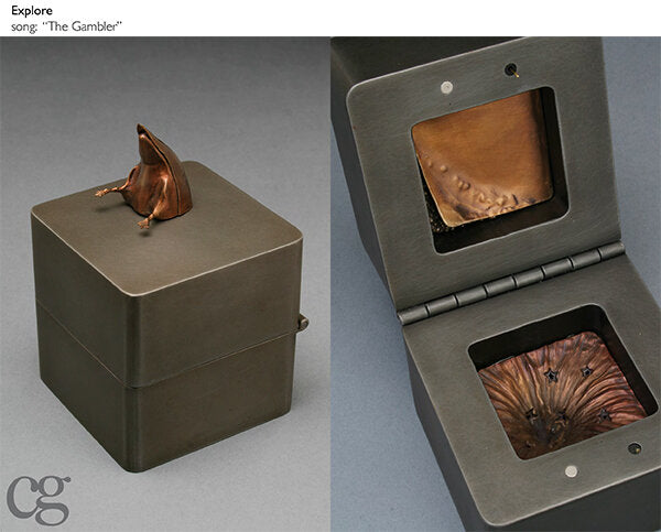 bronze duck butt on steel and copper music box sculpture about exploration