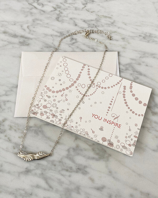 handmade artist made sterling silver necklace inspired by nature with You Inspire letterpress card for CG Sculpture and Jewelry Inspiring Women Project