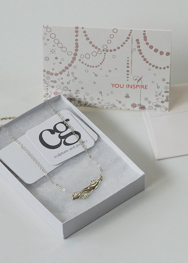 handmade nature inspired solid sterling silver necklace with You Inspire letterpress card awarded to Inspiring Women