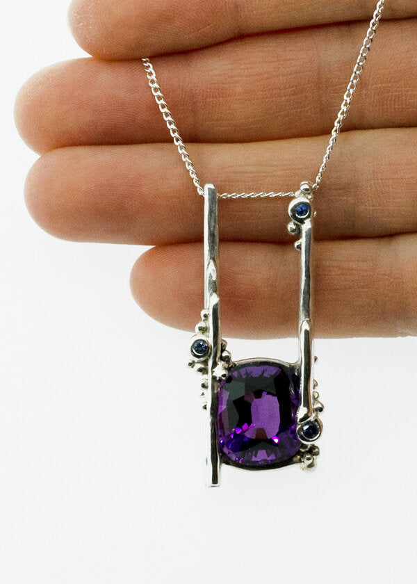montana sapphire, amethyst and silver necklace. one of a kind custom jewelry