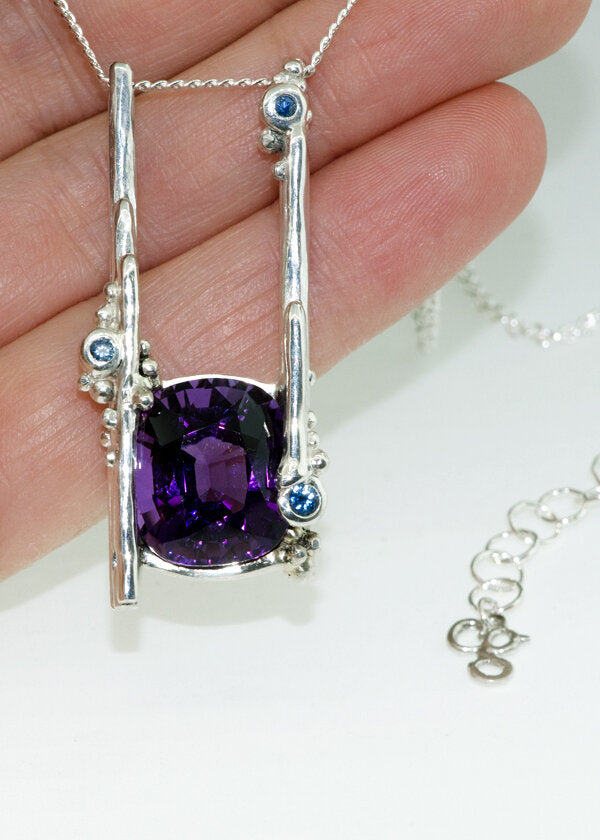 custom amethyst necklace made for birth of first child in february