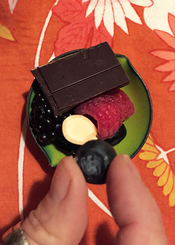 fruit nut and dark chocolate dessert course with automatic portion control in the cutest little handmade citrus green bowl