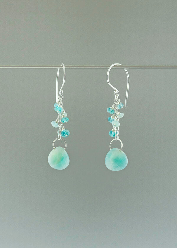 dangle gemstone earrings with apatite and amazonite gemstones. charming and pleasing to the eye. Lightweight earrings easy to wear all day